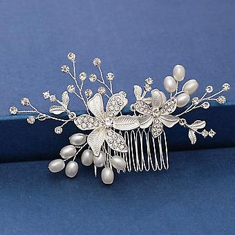 Pearl Crystal Wedding Hair Combs Accessories For Bridal Flower Headpiece Women