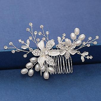 Pearl Crystal Wedding Hair Combs Accessoires pour femme tête de fleur nuptiale