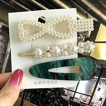 Women Acrylic Pearl Hair Clips Set