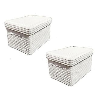Set Of 2 Neon Bright Colours Storage Box Basket + Lid