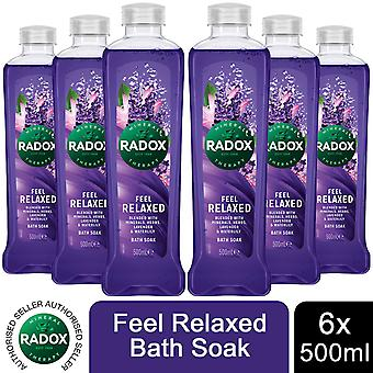 Radox 100% Nature Inspired Fragrances Bath Soak, Feel Relaxed, 6 Pack, 500ml