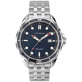 Accurist 7290 Navy & Silver Stainless Stainless Steel Męski zegarek