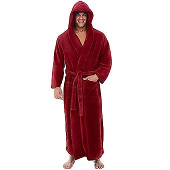 Men's Winter Plush Lengthed Shawl Bathrobe, Home Clothes, Long Sleeved Coat,