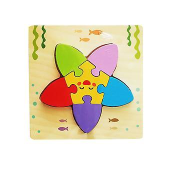 Barn's tre 3D geometrisk puslespill, baby puslespill byggesteiner pedagogisk leketøy