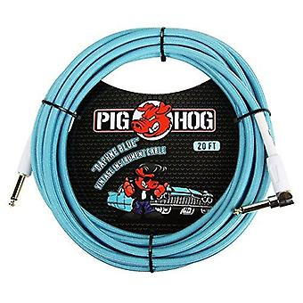 "Pig hog pch20dbr right-angle 1/4"" to 1/4"" daphne blue guitar instrument cable, 20 feet"