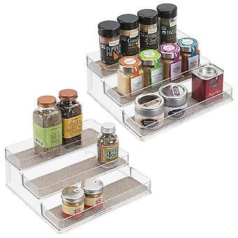 mDesign 2 pc. Set Kitchen Spice Rack - Spice Organiser for Cabinet and Countertops - Pantry Storage Container - Wide - Transparent / Metallic