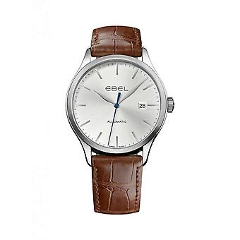 Ebel Classic Silver Dial Brown Alligator Leather Automatic Men's Watch 1216088