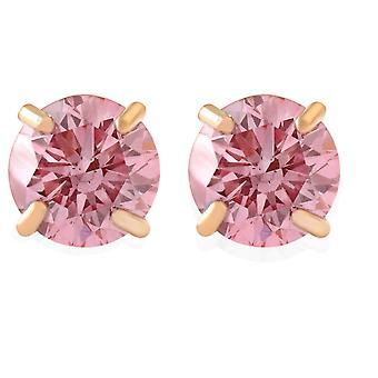 3/8Ct Pink Lab Grown Diamond Screw Back Studs Earrings 14K Yellow Gold