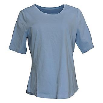 Denim & Co. Camicia Anywear Donna 3/4 Slvs Scoop Neck Top Blue A378932