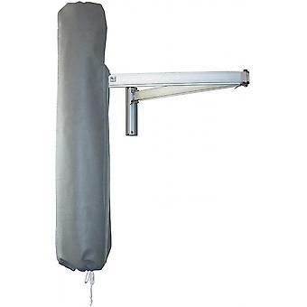 paraplydæksel med vægbeslag 150 cm gråt i rustfrit stål