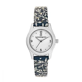 LuluCastagnette Girl Watch - witte wijzerplaat - blauwe armband met patronen
