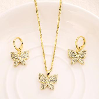 Crystal Cubic Zircon Earring Necklace Chain Jewelry Sets