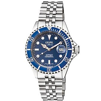 Gevril Men's Wall Street Royal BLU Dial Royal BLU Ceramic Bezel Stainless Steel Bracelet