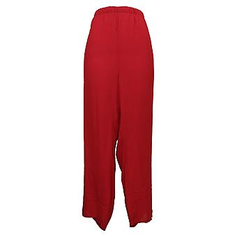 Antthony Women's Pants Petite 2X Lined Chiffon Straight-Leg Red 690762