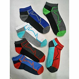 6 Pairs Mens Trainer Liner Socks Funky Designs