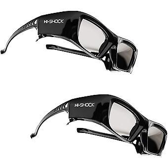 FengChun 2x BT/RF Pro Schwarzer Diamant | Bluetooth 3D Brille für 3DTV 3D-RF Beamer von Sony, Epson,
