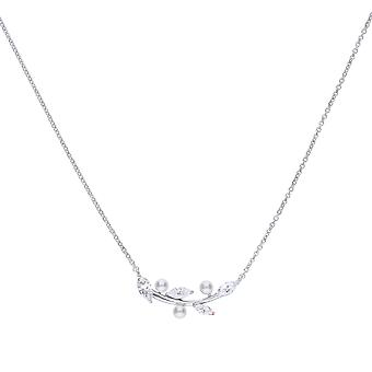 Diamonfire Womens 925 Sterling Silver Rhodium, Palladium & Platinum Plated Clear Cubic Zirconia & Pearl Leaf Design Halsband av längd 40cm - 45cm