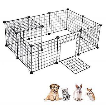 DIY Pet House Foldbar Pet Playpen Jern Hegn Puppy Kennel Øvelse Uddannelse Hvalp Killing Space Kaniner / Marsvin / Pindsvin