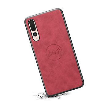 حقيبة جلدية مع فتحة بطاقة محفظة ل Huawei mate20 أحمر رجعي