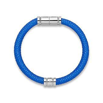 Tayroc blue leather bracelet with stainless steel clasp