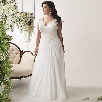 Elegant Plus Size Wedding Dresses V-neck Cap Sleeves
