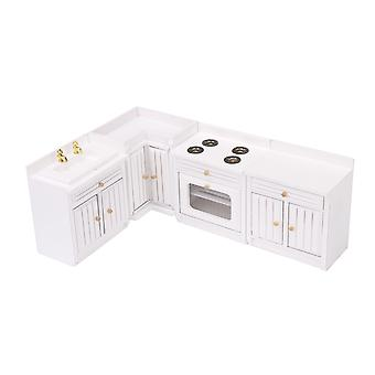 4/Set Wooden Kitchen Cabinets for 1:12 Miniature Dollhouse Furniture