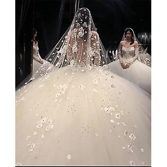 Bling Pearls Lace Rhinestone Beaded Bridal Long Wedding Veil