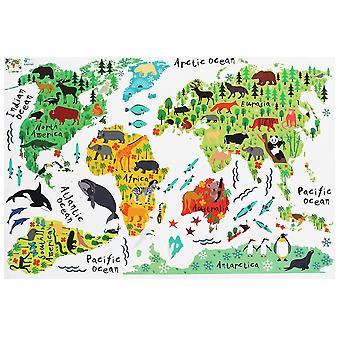 Farverige dyr verdenskort vægklistermærke aftagelige hjem decal for børn baby værelse stue vægmaleri vægmaleri væg kunst indretning
