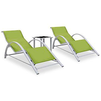 letti vidaXL 2 pezzi. con tavolo in alluminio verde