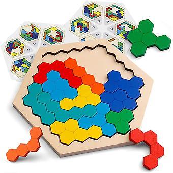 Hölzernes Sechseck-Puzzle - Form Block Tangram Denkaufgabe Spielzeug Geometrie Logik IQ Spiel STEM