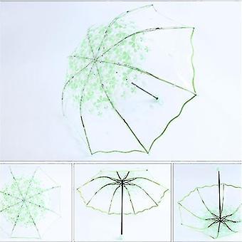 Cherry Blossom Transparent Clear Rain Umbrella (Vert)