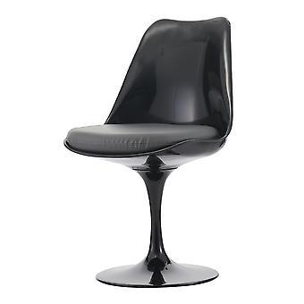Fusion Living glansig svart och grå PU svängbar sidostol