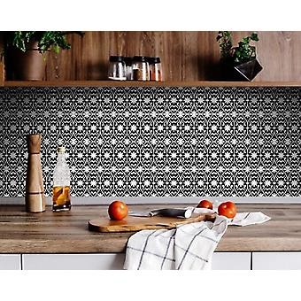 """4"""" X 4"""" Black and White Floral Peel and Stick Removable Tiles"""
