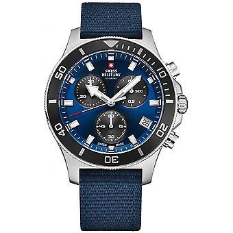 Reloj suizo Military By Chrono Blue Genuine Leather SM34067.05 para hombre