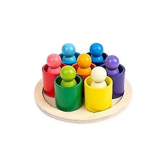 Interlocking blocks rainbow bucket stacking toy montessori wooden toys baby toys stacking cups towers sorting locks