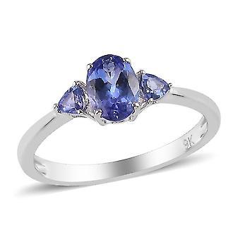 TJC Tanzanite Engagement Trilogy Ring for Women 9K White Gold 1ct(P)