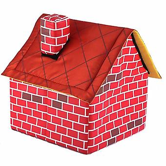Krb Pet House Pes dodává Krb Dog House Cat House Dog Cage Tent House Pet Supplies (červená 39 * 40,5 * 44cm)