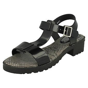 Ladies Spot On Mid Heel T-Bar Jelly Sandal F10446