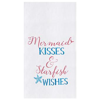 Mermaid Kisses and Starfish Wishes Flour Sack Kitchen Towel
