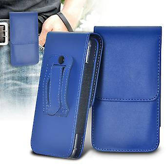 Huawei Honor 4 Play Vertical Faux Leather Belt Holster Pouch Cover Case (Blue)