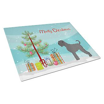 Black Russian Terrier Christmas Glass Cutting Board Large