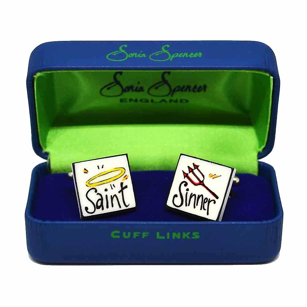 Saint Sinner Cufflinks by Sonia Spencer, in Presentation Gift Box. Hand painted