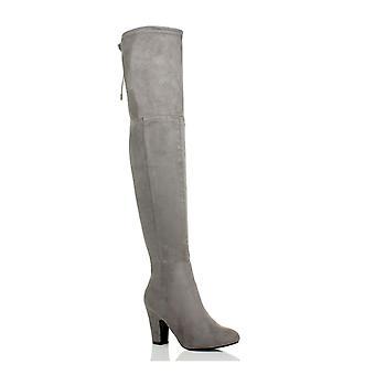 Ajvani dame høj hæl zip slips op ridning over låret støvler