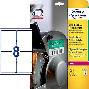 Avery-Zweckform L7914-10 Labels 99.1 x 67.7 mm PE film White 80 pc(s) Permanent All-purpose labels