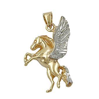 Pingentes de ouro do cavalo cavalo com asas, 9 KT ouro 375 reboques,