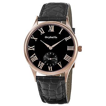 ORPHELIA Mens analoog horloge standaard zwart leer 122-6703-44