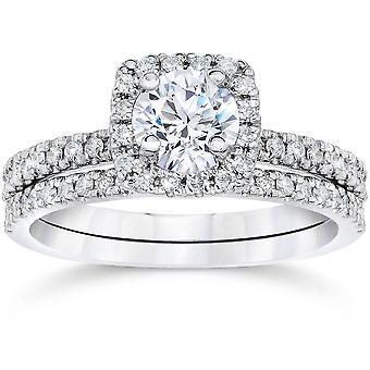 5/8 Karat Kissen Halo Diamond Engagement Trauring Set Weißgold
