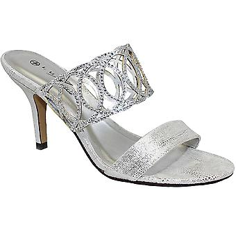 FLR356 Tatiana Ladies kvelden Slip på Diamante metallisk muldyr høy hæl sko
