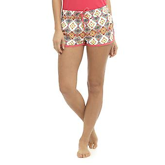 Womens Ladies Floral Resort Tile Print Polyester Summer Beach Shortie Shorts