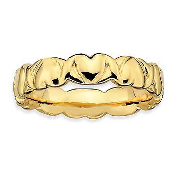 925 Sterling Silver leštené vzorované Stackable výrazy 14k pozlátené láska srdce prsteň šperky Darčeky pre ženy-